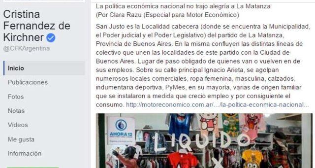 La expresidenta Cristina Kirchner se hizo eco de la situación económica que atraviesa La Matanza, demostrando una vez más la importancia política del Distrito. Días antes, la intendenta Verónica Magario había publicado un estudio en el que se detallaba la caída en las ventas en cada ciudad.